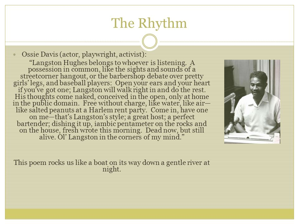 The Rhythm Ossie Davis (actor, playwright, activist):