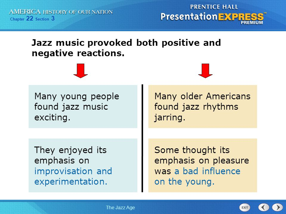 Jazz music provoked both positive and negative reactions.