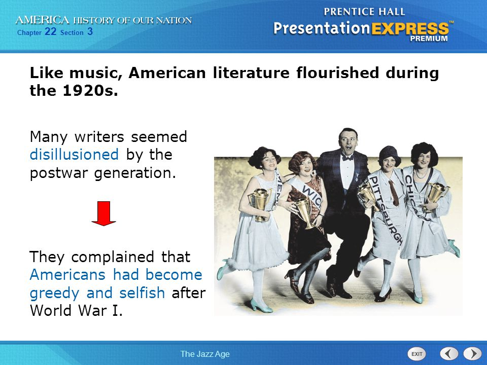 Like music, American literature flourished during the 1920s.