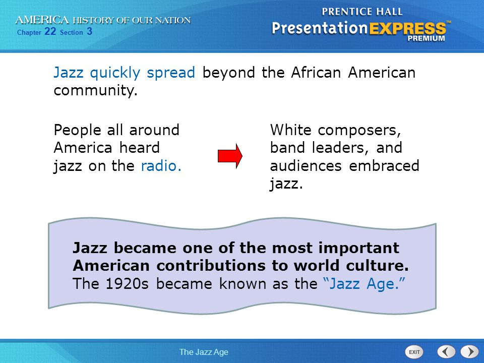 Jazz quickly spread beyond the African American community.