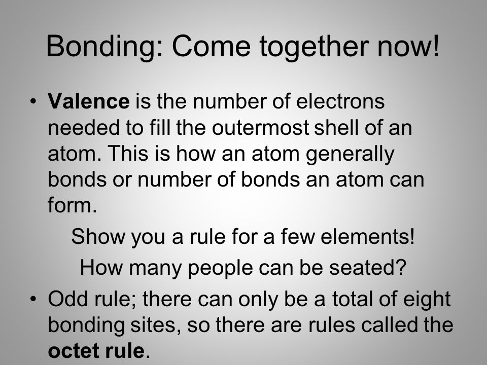 Bonding: Come together now!