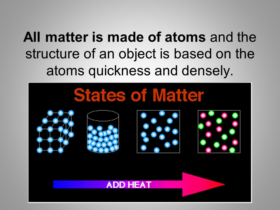 All matter is made of atoms and the structure of an object is based on the atoms quickness and densely.