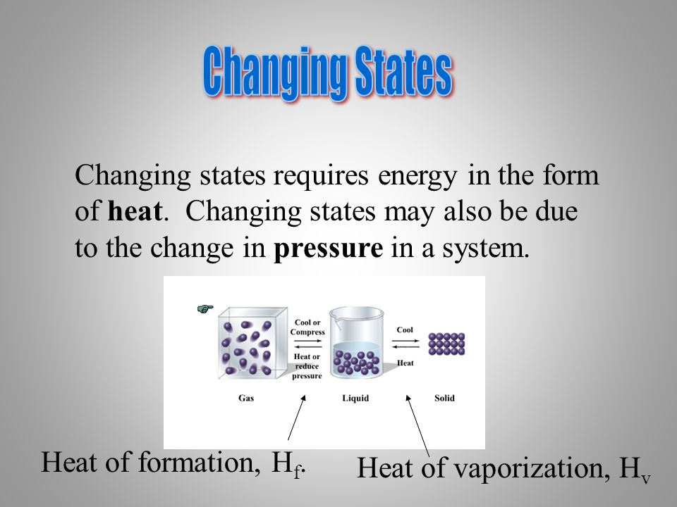 Changing States Changing states requires energy in the form of heat. Changing states may also be due to the change in pressure in a system.