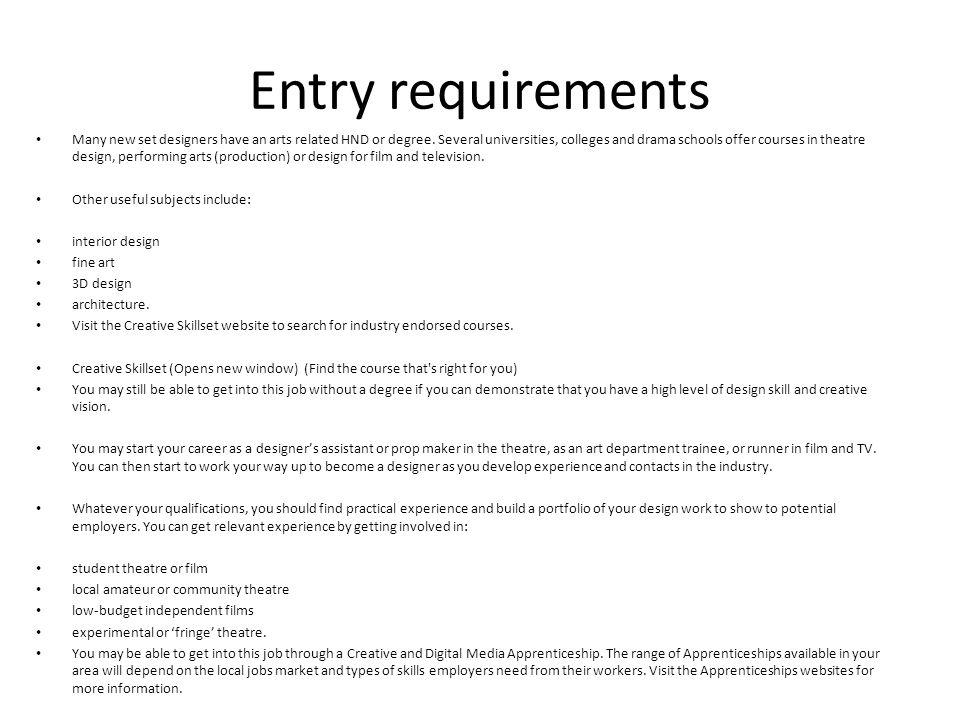 5 Entry Requirements Many New Set Designers ...
