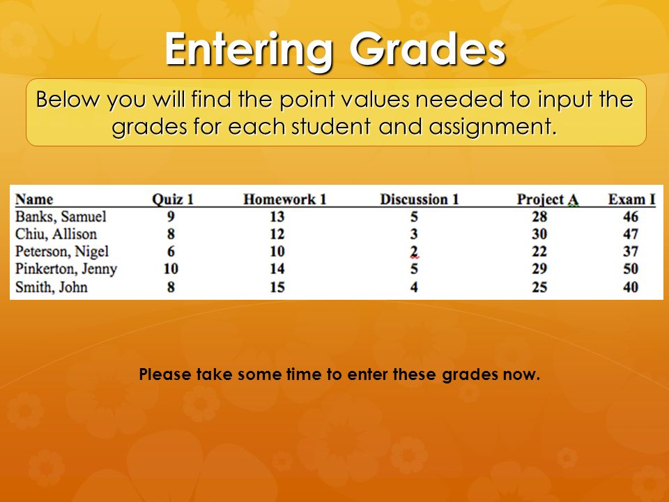 Please take some time to enter these grades now.