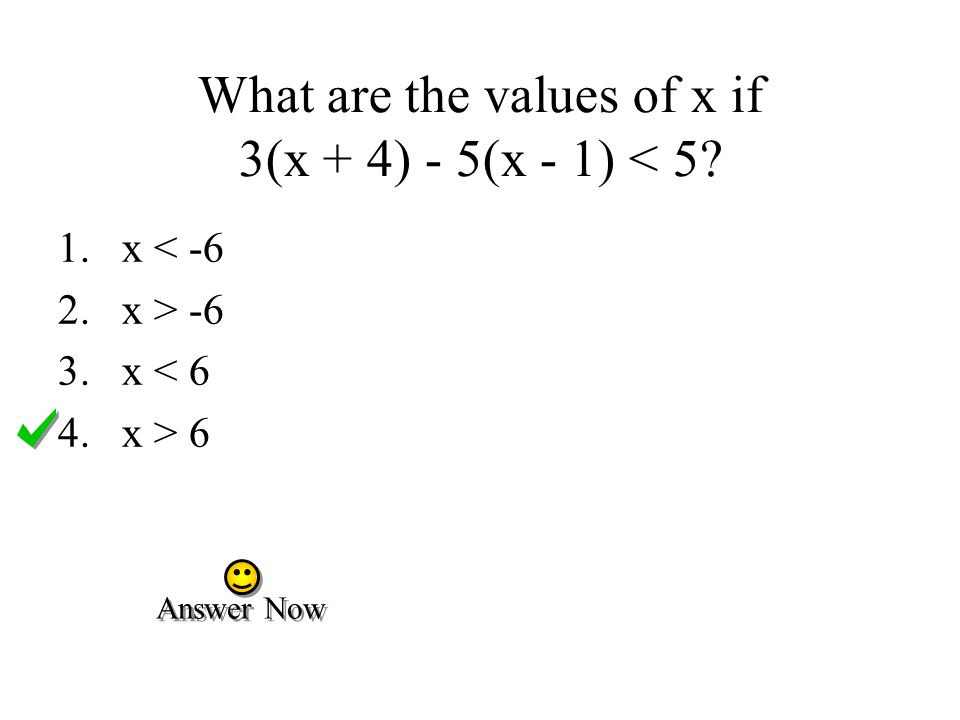 What are the values of x if 3(x + 4) - 5(x - 1) < 5