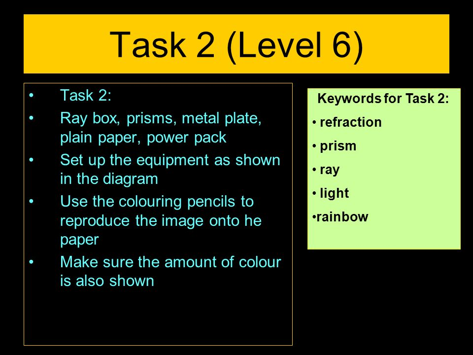 Task 2 (Level 6) Task 2: Ray box, prisms, metal plate, plain paper, power pack. Set up the equipment as shown in the diagram.