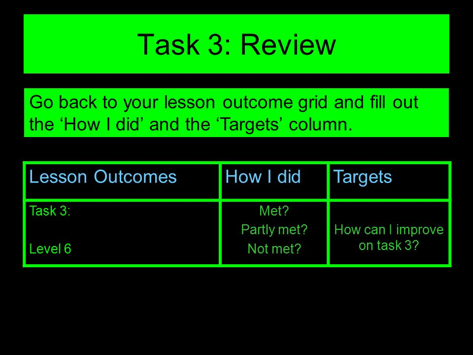 How can I improve on task 3