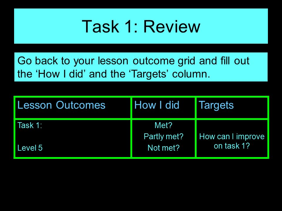 How can I improve on task 1