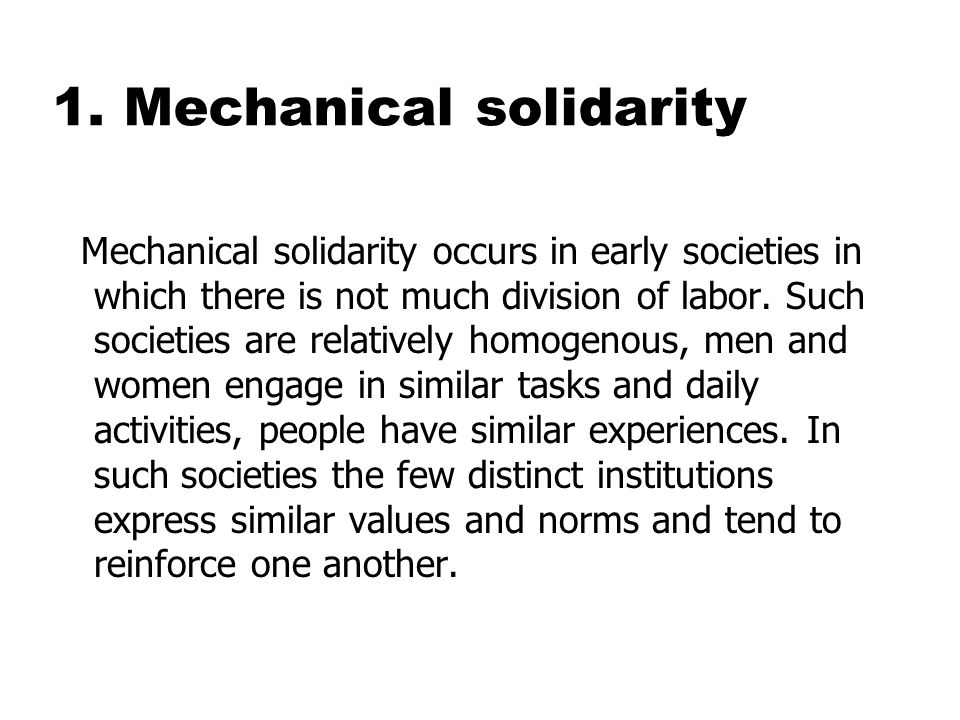 mechanical solidarity emile durkheim