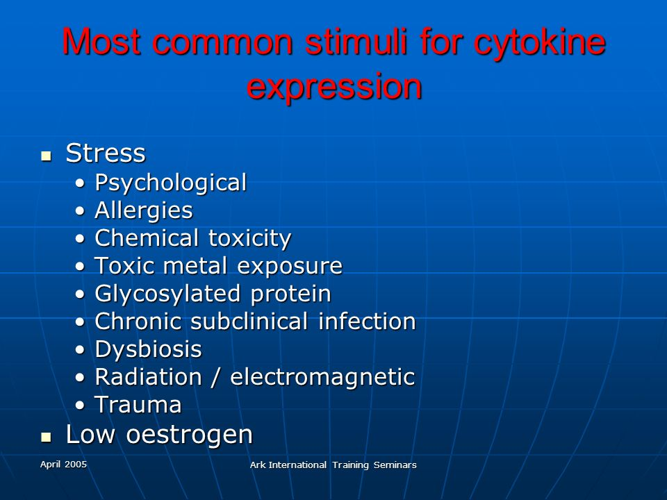 Most common stimuli for cytokine expression