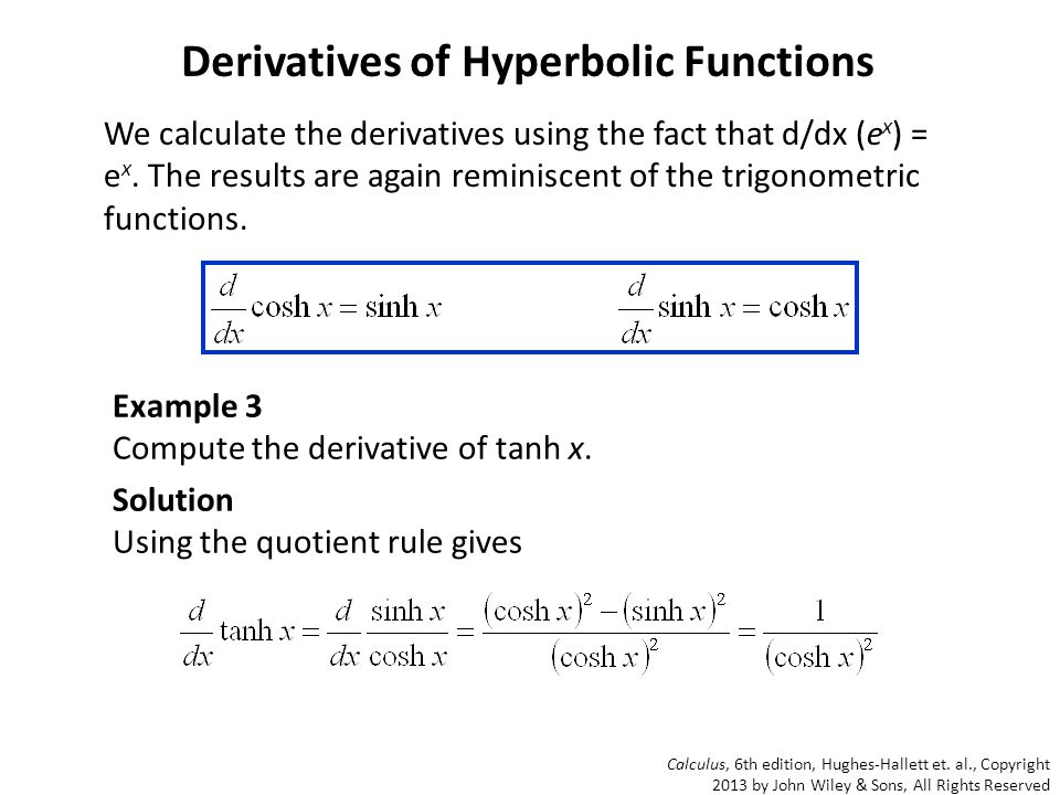 Derivatives Of Hyperbolic Functions Examples Images Example Cover