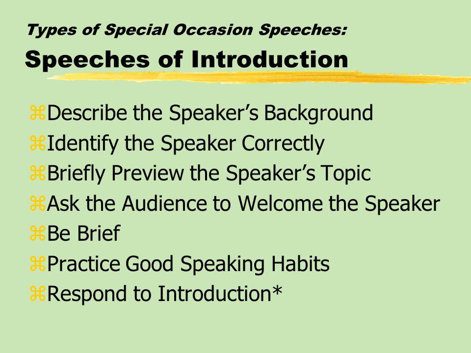 special occasion speech topics