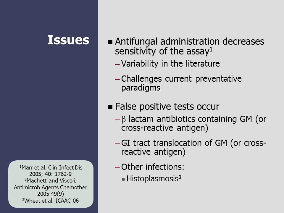 Issues Antifungal administration decreases sensitivity of the assay1