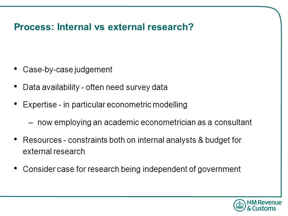 Process: Internal vs external research