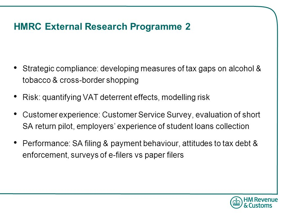 HMRC External Research Programme 2