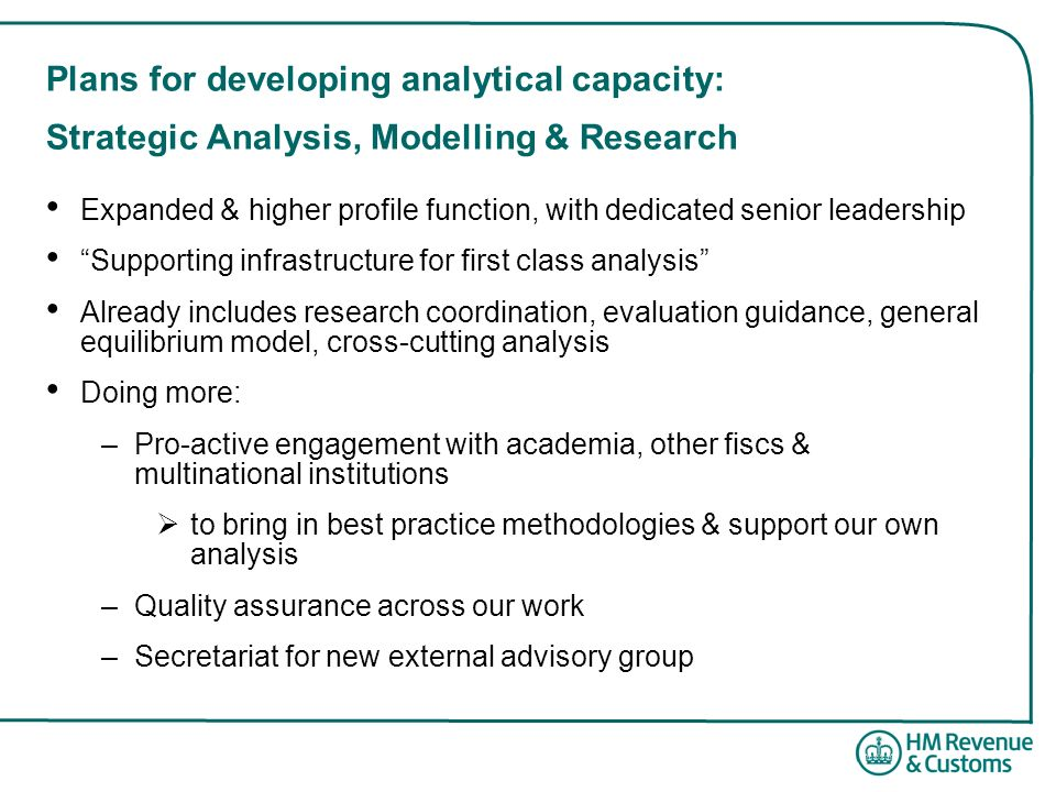 Plans for developing analytical capacity: Strategic Analysis, Modelling & Research