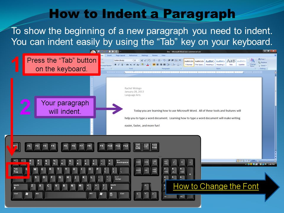 1 2 How to Indent a Paragraph