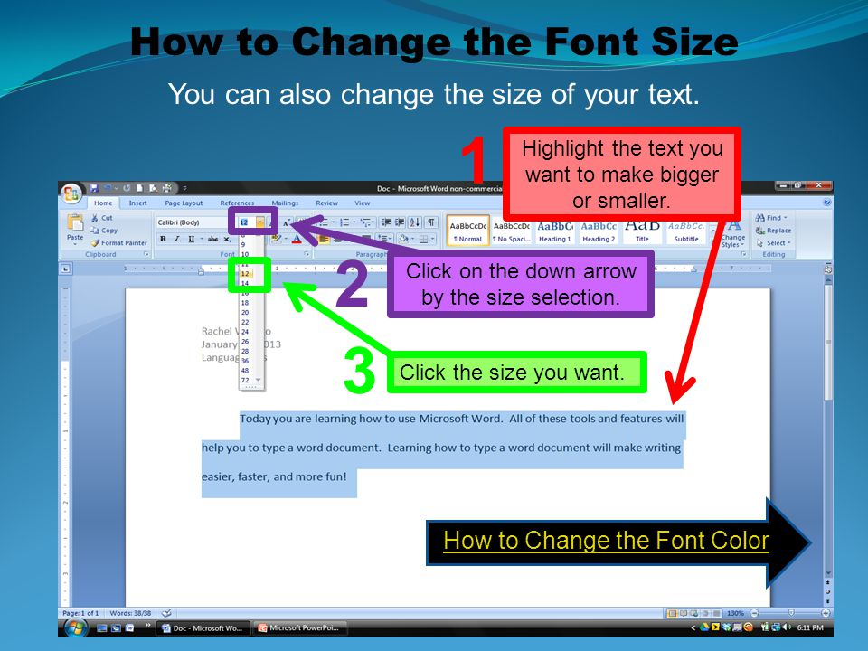 1 2 3 How to Change the Font Size