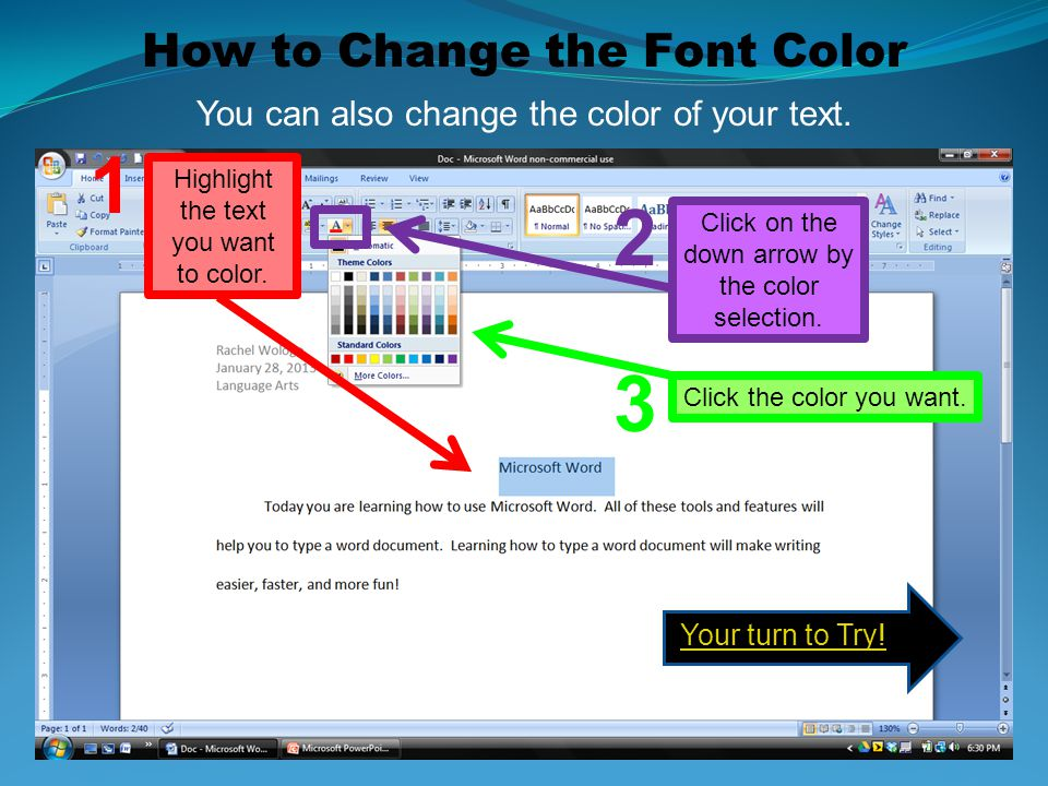 1 2 3 How to Change the Font Color