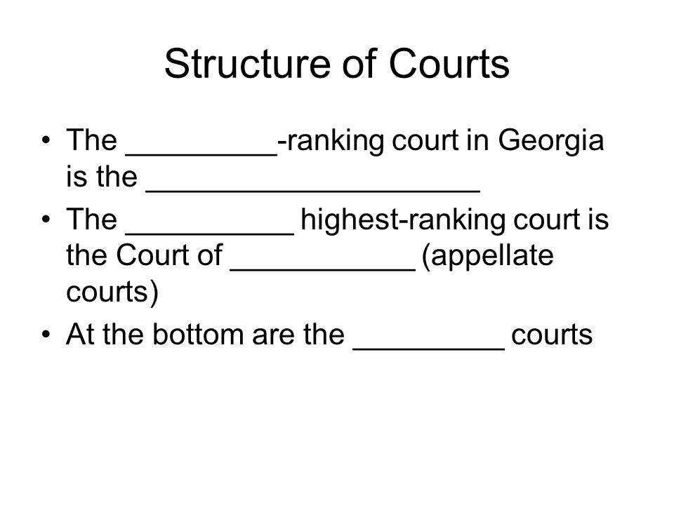 Structure of Courts The _________-ranking court in Georgia is the ____________________.