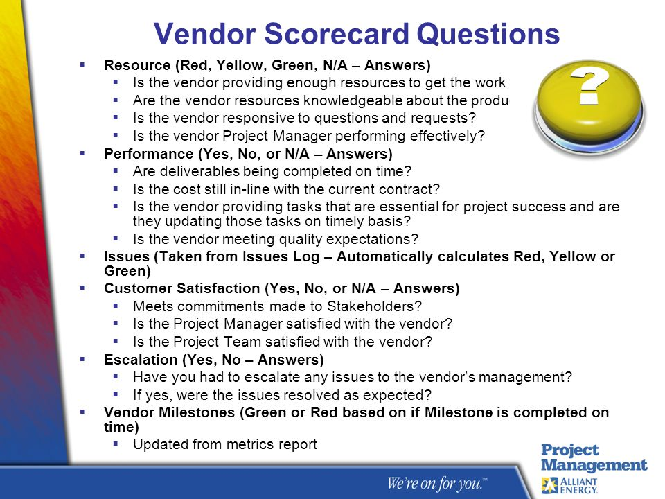 Vendor Scorecard Questions