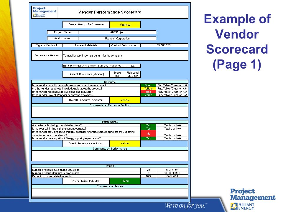 Example of Vendor Scorecard (Page 1)