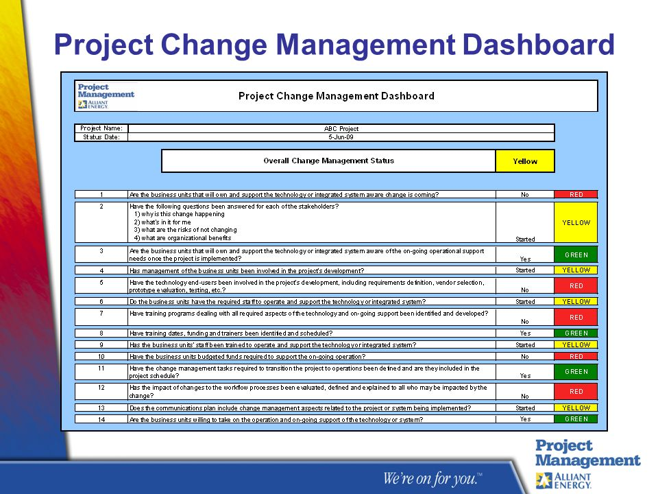 Project Change Management Dashboard