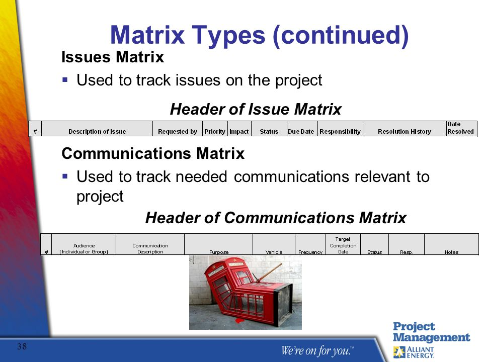 Matrix Types (continued)