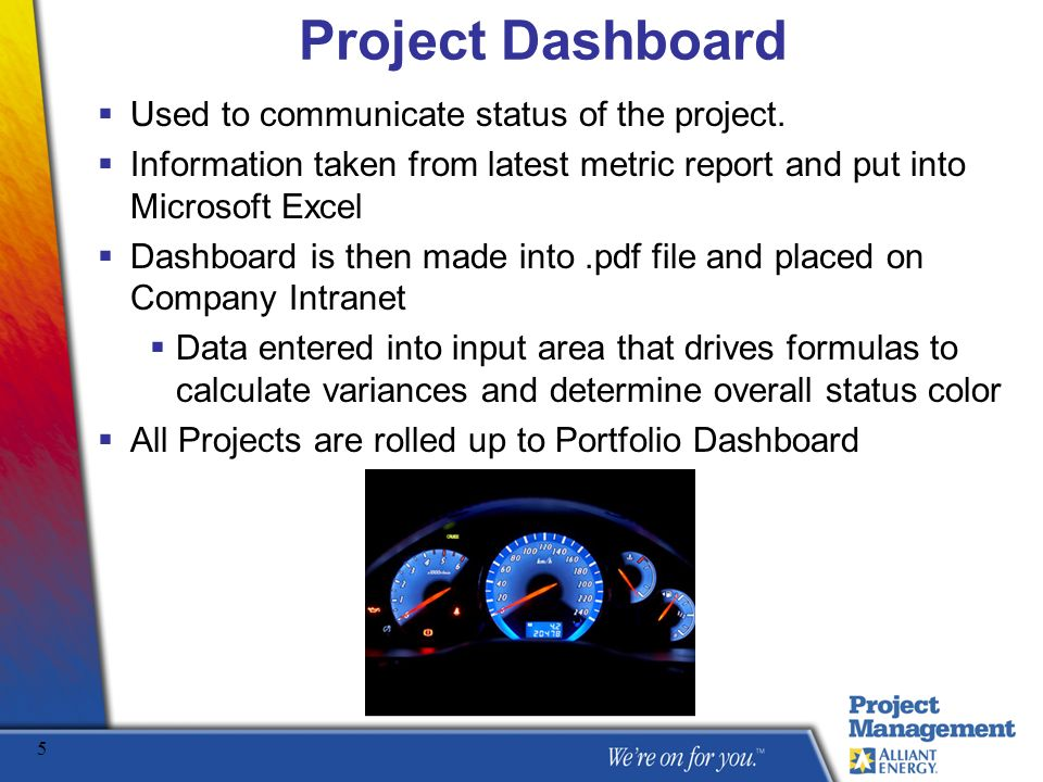 Project Dashboard Used to communicate status of the project.