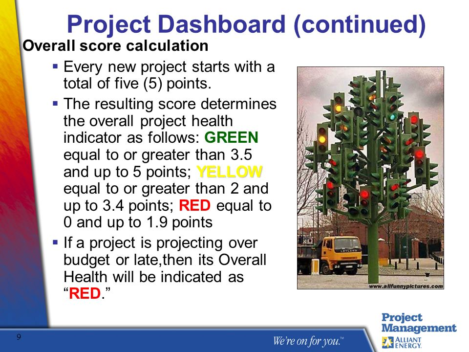 Project Dashboard (continued)