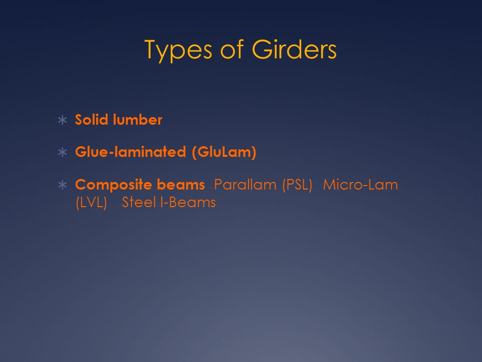 Types of Girders Solid lumber Glue-laminated (GluLam)