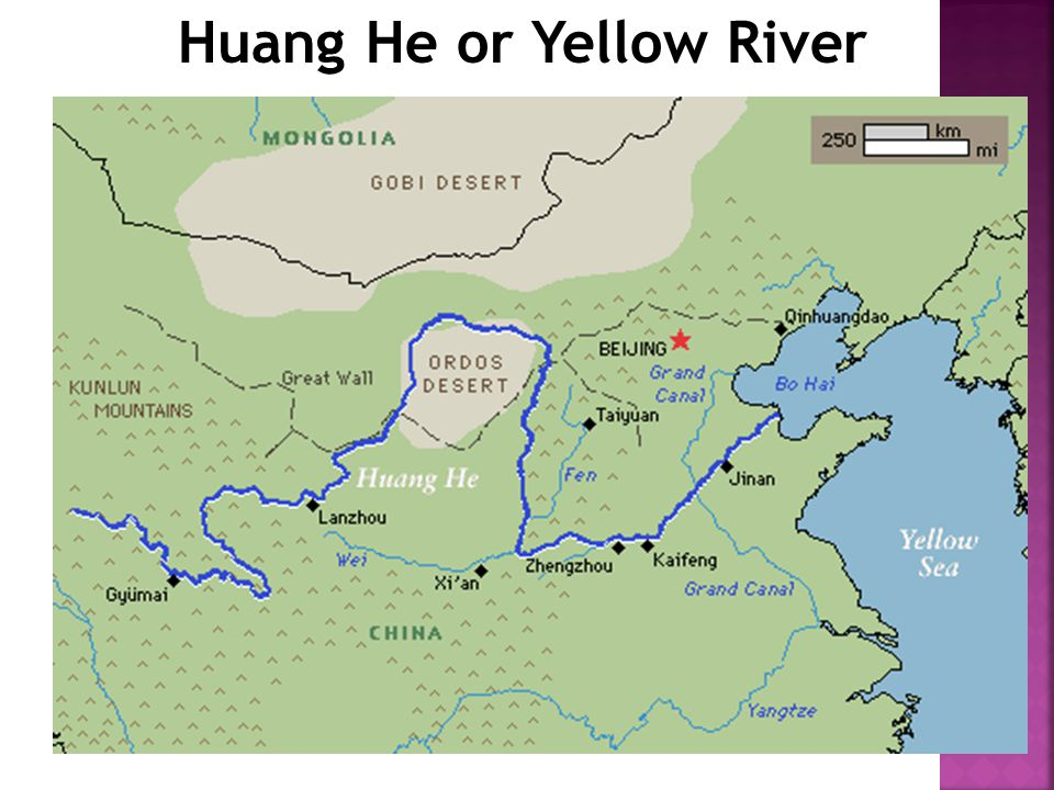 Yellow River Asia Map