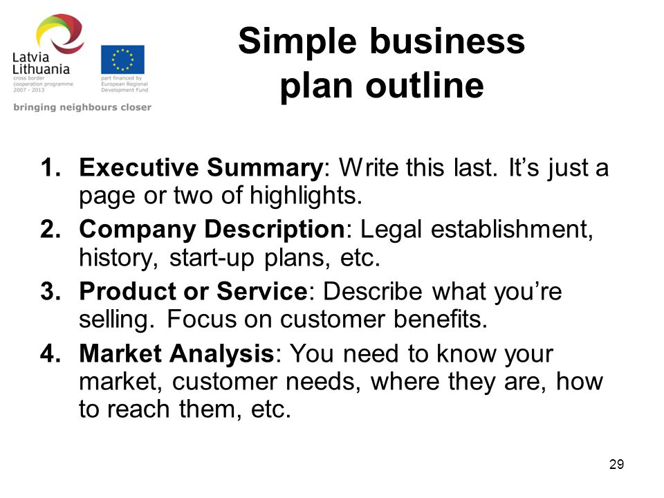 29 simple business plan outline