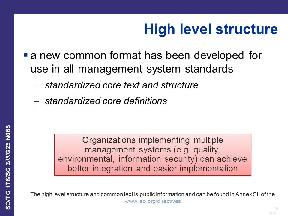 High level structure a new common format has been developed for use in all management system standards.