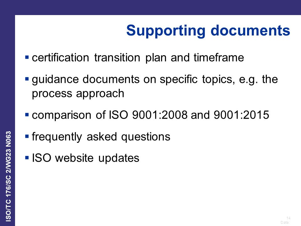 Supporting documents certification transition plan and timeframe