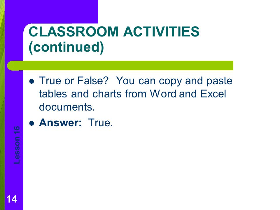 CLASSROOM ACTIVITIES (continued)