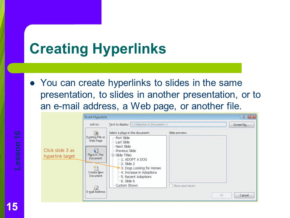 Creating Hyperlinks