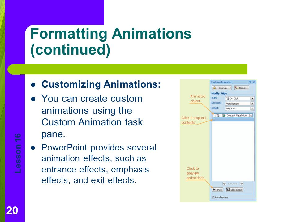 Formatting Animations (continued)