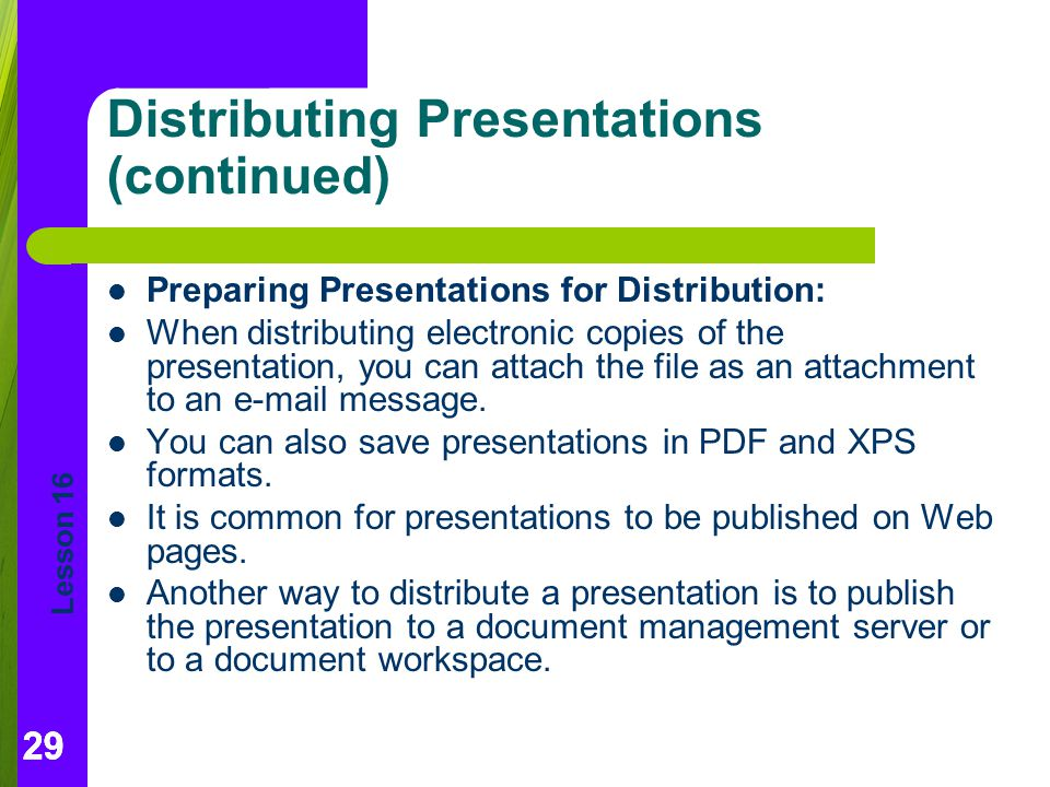 Distributing Presentations (continued)
