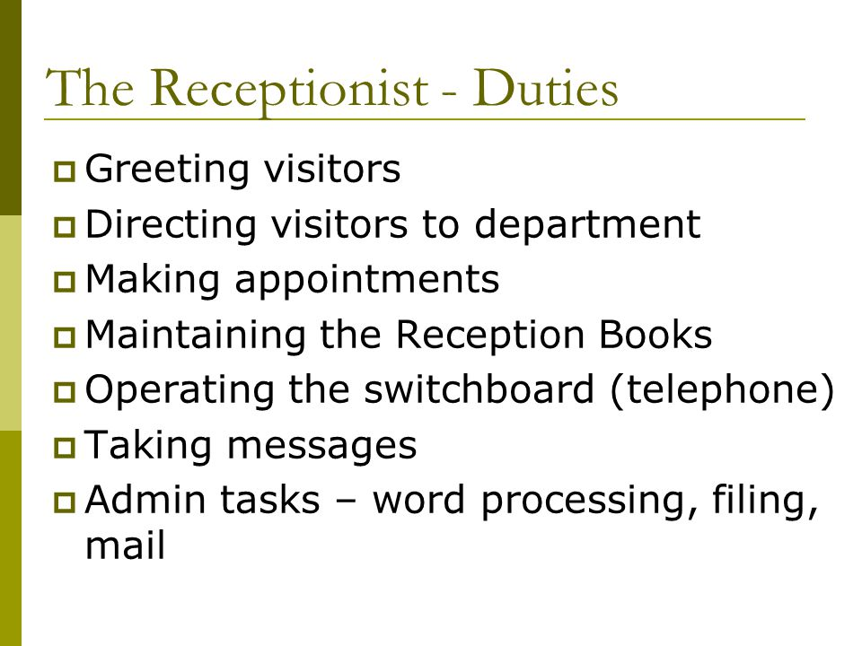 Reception ppt video online download the receptionist duties m4hsunfo