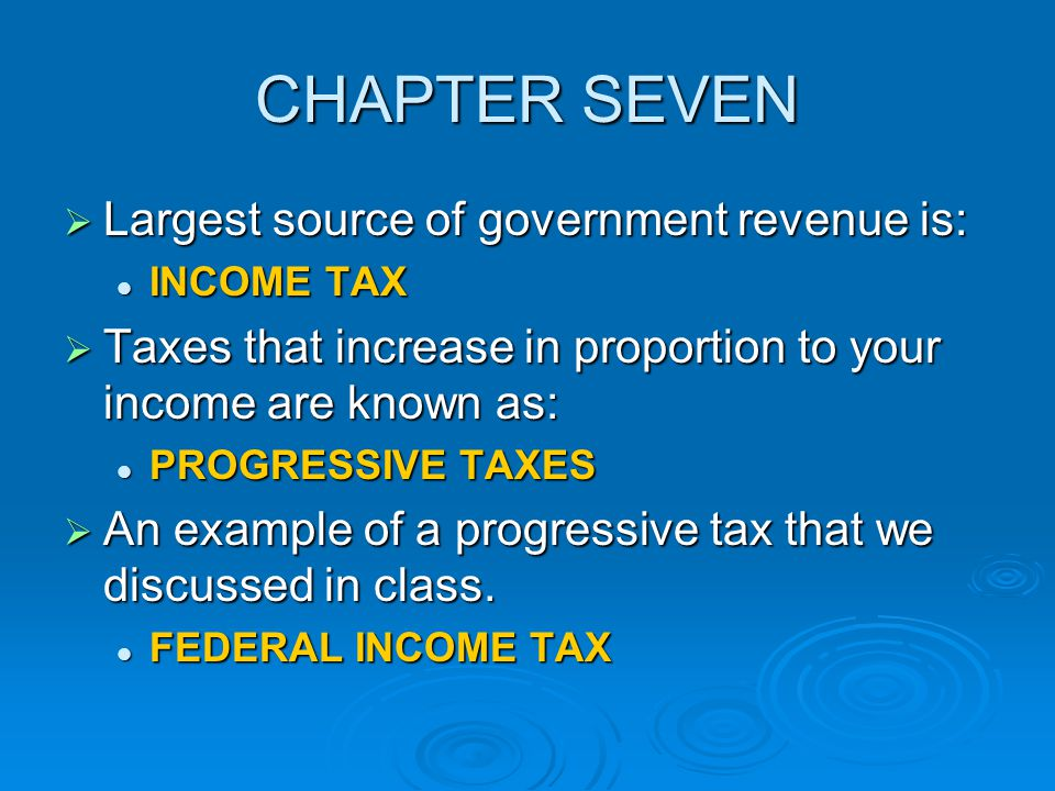 CHAPTER SEVEN Largest source of government revenue is: