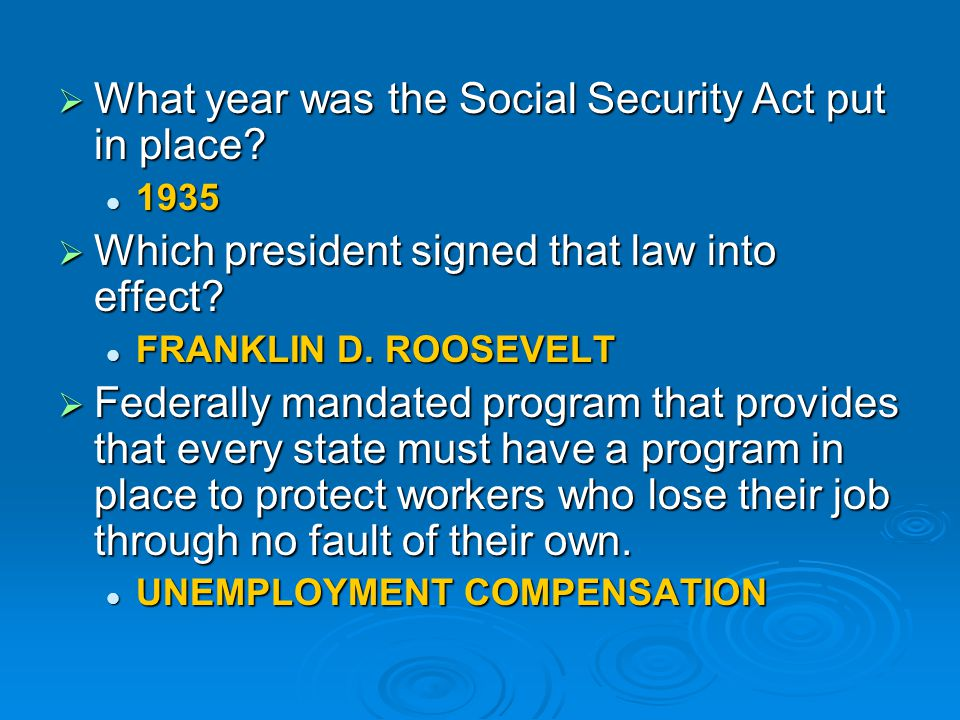 What year was the Social Security Act put in place