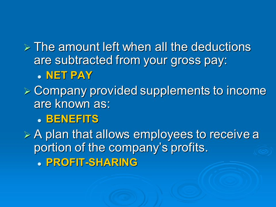 Company provided supplements to income are known as:
