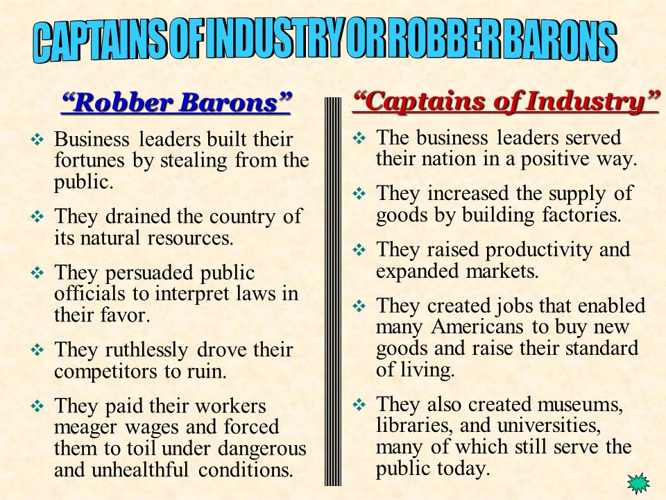 robber barons vs captains of industry chart