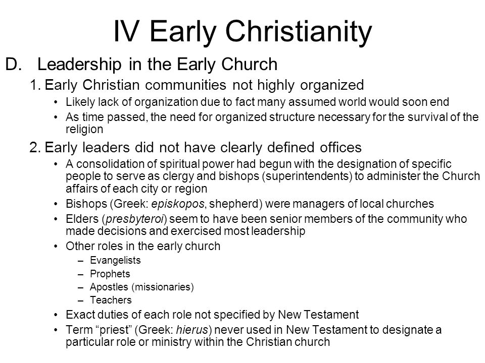 a letter to an early christian community is called world religions chapter twevle christianity ppt 20333 | IV Early Christianity D. Leadership in the Early Church