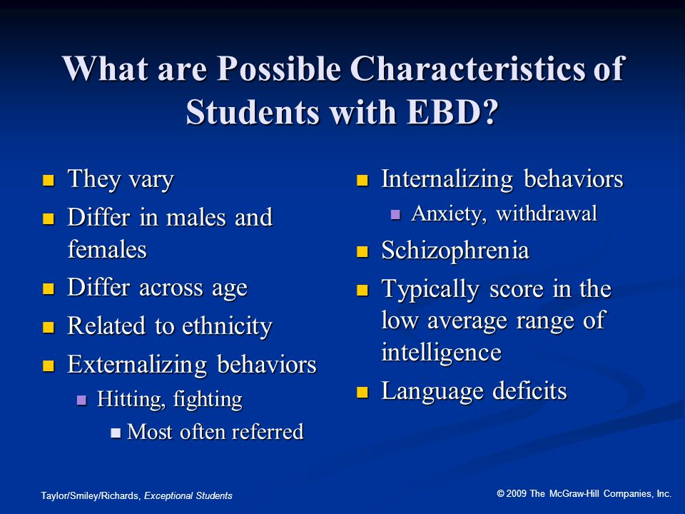 What are Possible Characteristics of Students with EBD