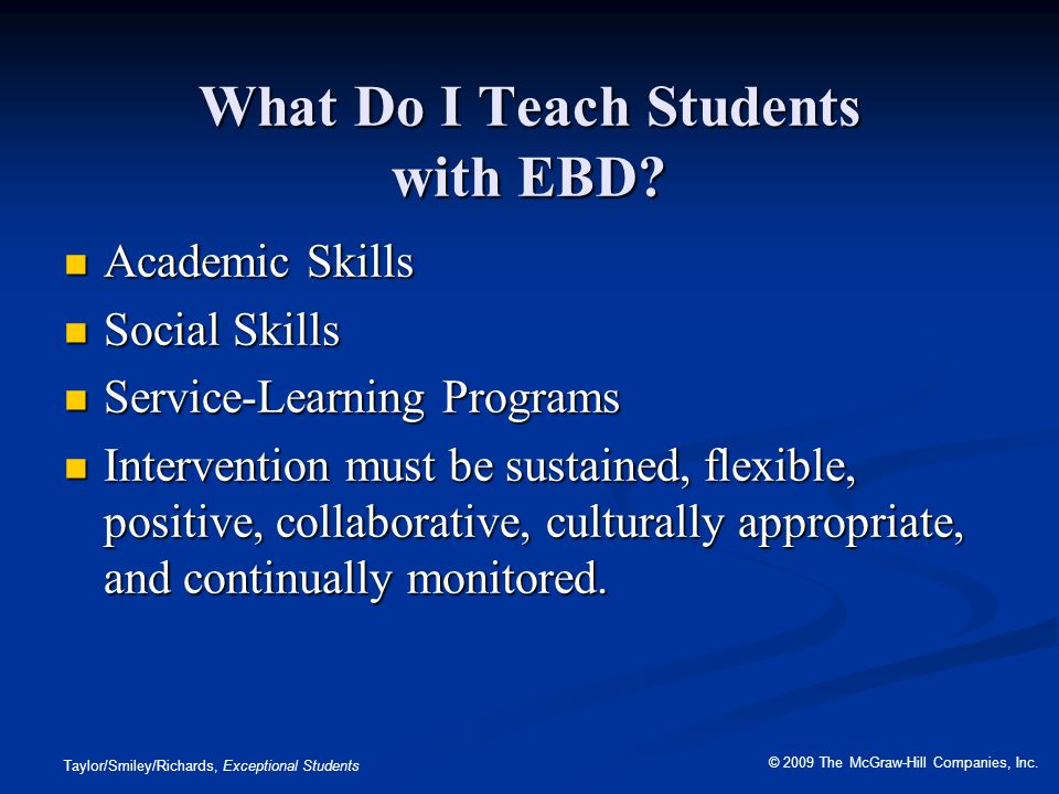 What Do I Teach Students with EBD