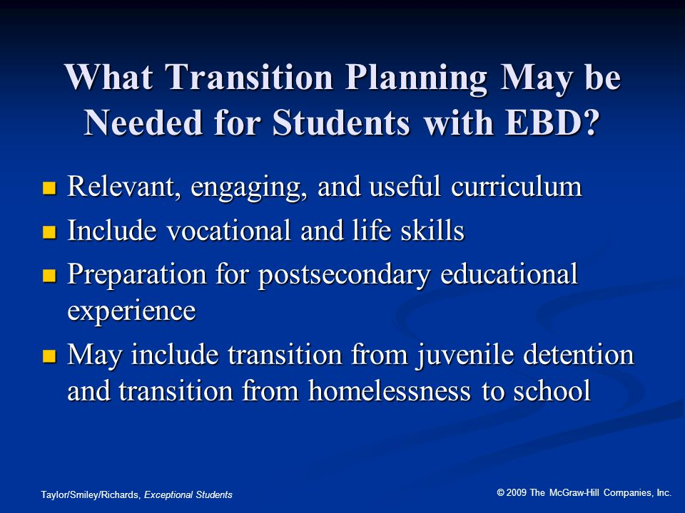 What Transition Planning May be Needed for Students with EBD