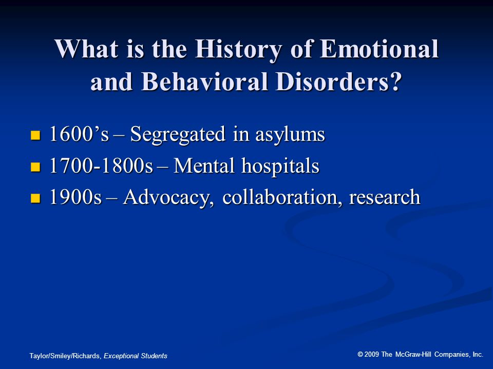 What is the History of Emotional and Behavioral Disorders
